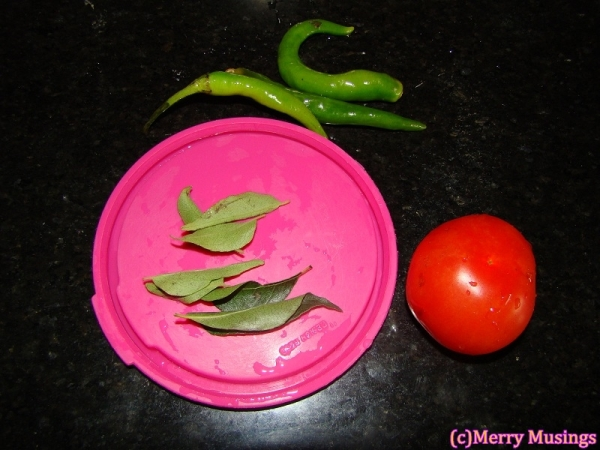 Green chillies, Tomato and curry leaves